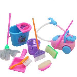 A 9pcs Ninos Juguetes Juego De Imaginacion Juguete Limpieza Spielzeug Reinigen Barbie Puppe Haus Spielzeug
