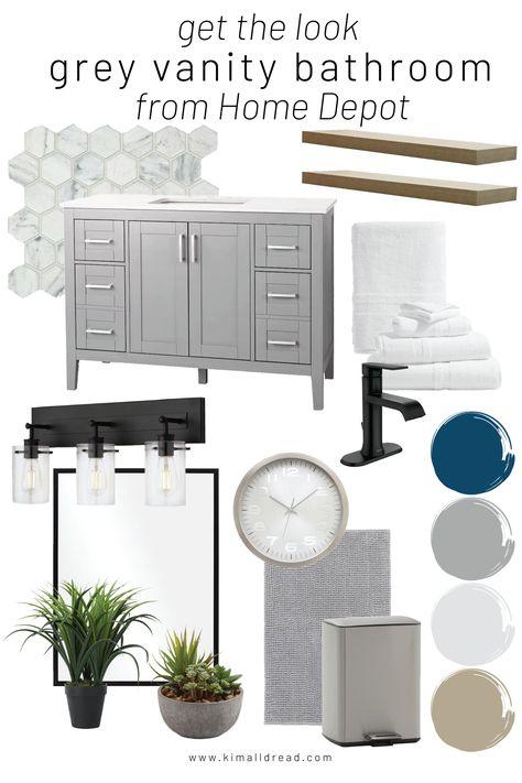 Check out this bathroom moodboard with a grey Home Depot vanity!! #bathroommoodboard #greyvanity #homedepot #modernbathroom