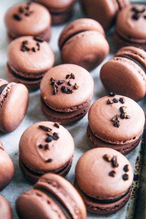 Dark Chocolate  Raspberry Ganache Macarons - Emily Laurae