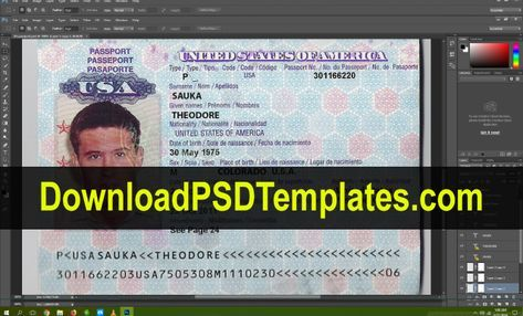 Usa Passport Psd Template Download Editable Source File Passport Template Psd Template Downloads Psd Template Free
