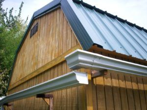 Hanging Gutters On Metal Roof Downspout Drainage Metal Roofing Materials Rain Gutters