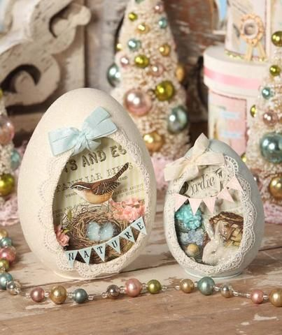 Create a sweet Spring or Easter vignette with these charming Spring Flea Market Egg Dioramas. Set of 2 assorted egg dioramas. Shop Bethany Lowe Easter decor now! Egg Crafts, Easter Crafts, Easter Decor, Easter Ideas, Flea Market Decorating, Egg Decorating, Hoppy Easter, Easter Bunny, Easter Eggs