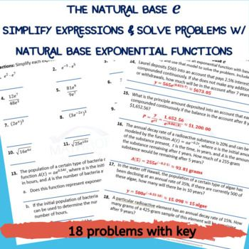 Base E Exponential Growth Decay Functions Worksheet Key Exponential Simplifying Expressions Solving Word Problems