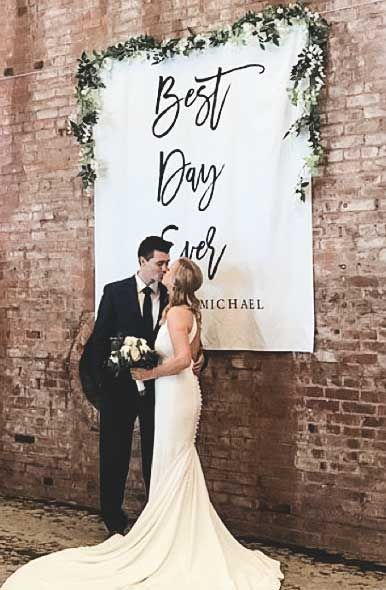 Best Day Ever Backdrop Personalized Calligraphy Wedding Banner Photo Backdrop Wedding