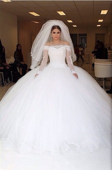 Off-the-shoulder Lace Long Sleeves Organza Wedding Dresses Ball Gowns -  Item:Organza Wedding Ball Gowns Occasion:Indoor Wedding/Church Wedding Process Time:15 to 20 days S - #Ball #bridalcollection #dresses #gowns #lace #laceweddingdresses #long #offtheshoulder #organza #organzaweddingdresses #shoulder #sleeves #wedding