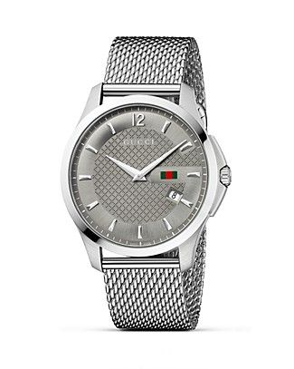 a01eb61f02d Gucci G Timeless Stainless Steel Mesh Bracelet Watch with Anthracite  Diamante Dial