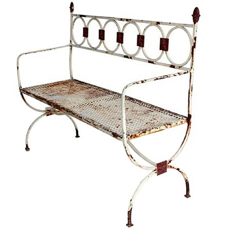 Peachy Antique French Metal Garden Bench Antique Vintage Farm Caraccident5 Cool Chair Designs And Ideas Caraccident5Info