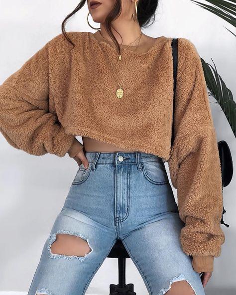 Brown Crew Neck Long Sleeve Women Crop Sweatshirt - Ropa Tutorial and Ideas
