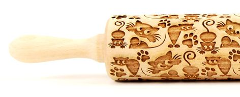 CATS No. 6 Embossing rolling pin Engraved by ArtWoodenCorner