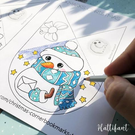 Corner Bookmarks | Winter & Christmas to Color