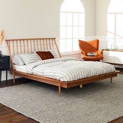 Queen Mid Century Modern Solid Wood Spindle Bed Caramel Saracina Home Modern Bed Frame Saracina Home Spindle Bed