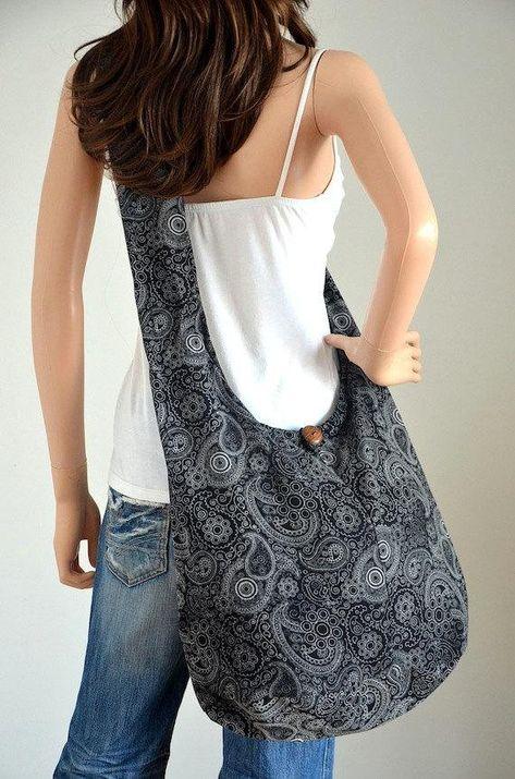 Black Paisley Cotton Bag Handbags Hippie Bag Hobo Bag Boho Bag Shoulder Bag Sling Bag Messenger Tote