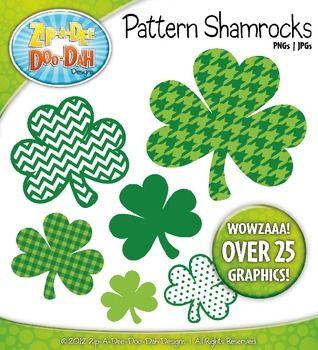 St. Patrick's Day Pattern Shamrocks Clipart — Over 25 Graphics! $3.50