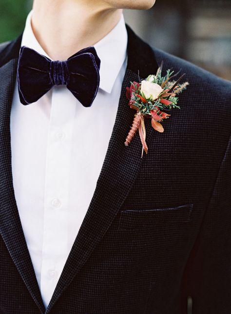 Elegant Autumn Wedding Boutonniere.