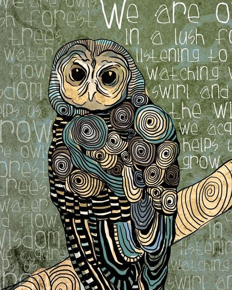 The Wisdom We Acquire / Owl / original illustration ART Print