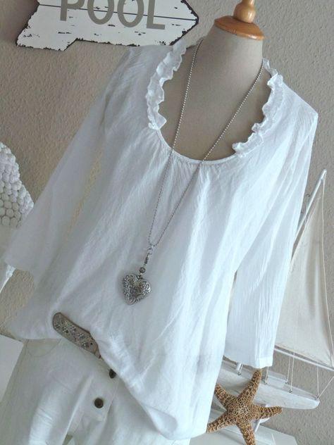 RESTART leichte Cotton Sommer 3/4 Tunika Bluse Rüschen Ausschnitt WHITE weiß NEU in Kleidung & Accessoires, Damenmode, Blusen, Tops & Shirts | eBay