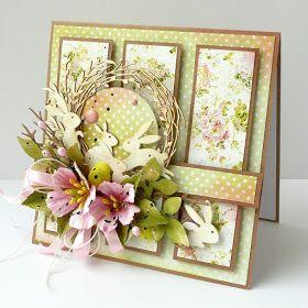 Moja Pierwsza Tegoroczna Proba Wielkanocna Kwiaty Z Papieru Czerpanego Probuja Nawiazac Do Kwiatowego Wzoru Easter Cards Handmade Easter Cards Cards Handmade