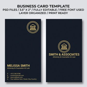 Law Firm Vertical Business Card Template Business Card Template Business Cards Minimal Business Card Template Psd