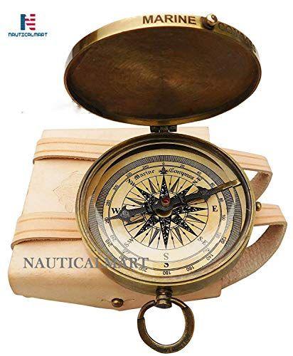 Antique Nautical Brass Pocket Poem Compass 3 Inches Vintage Marine Decor