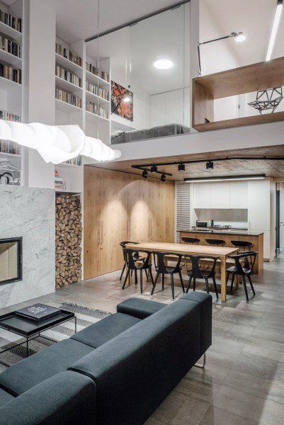 Bookshelves Open Floor Plan High Ceilings And Lofts Are Great Qualities Of This Space Additionally I Love The Wood Modern Loft Loft Design Loft Interiors