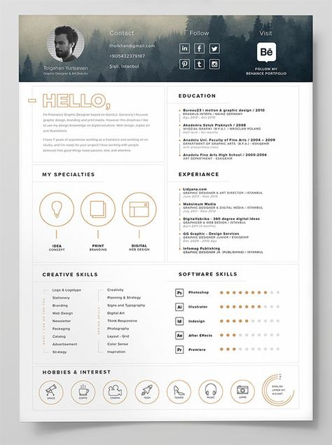 10 Best Free Resume (CV) Templates in Ai, Indesign, Word Graphic - create free resume online