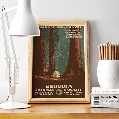 Sequoia National Park Vintage Travel Poster Us Travel Wpa Vintage Travel Poster From 1930s 24x36 20x30 18x27 11x17 100x70 50x70 A3 Med Billeder