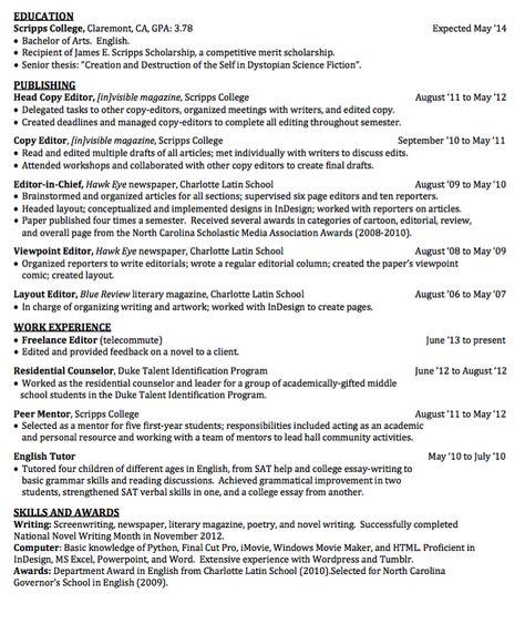 sample head copy editor resume  httpexampleresumecv