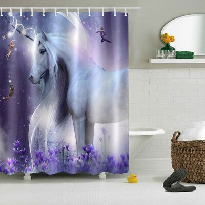 60x72 Fairy Unicorn Shower Curtain Bathroom Waterproof Fabric