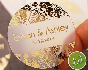 Personalized Foil Wedding Stickers Wedding Party Stickers Custom Foil Wedding Circle Stickers Bride /& groom Modern Wedding Party Favors