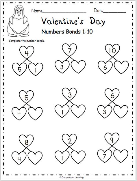 Free Valentine's Day math worksheet. Complete the number bonds from 1 to 10 on the hearts. Numbers Kindergarten, Math Numbers, Free Math Worksheets, Animal Worksheets, Printable Worksheets, Math Writing, Valentine Activities, Kid Activities, Upper And Lowercase Letters
