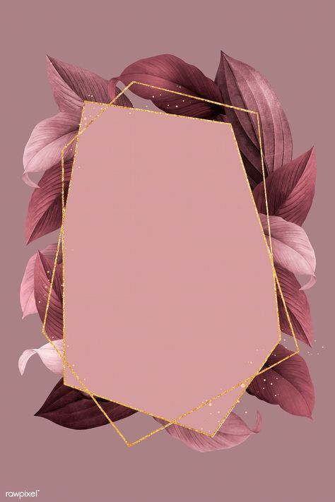 Hexagon foliage frame on red background vector | premium image by rawpixel.com / busbus