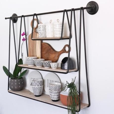 Three Tier Modern Wall Hanging Shelf Industrial Wall Decor Hanging Shelf Decor Basket Wall Decor