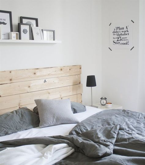 Wooden headboard looks great amongst all the whites and greys @dekohochdrei's apartment   live from IKEA FAMILY