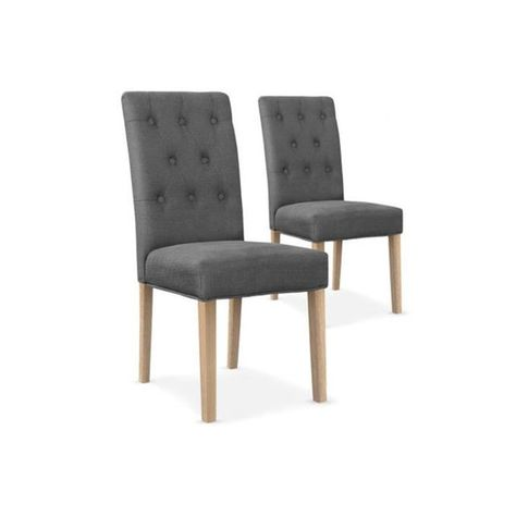 Lot De 2 Chaises Design En Tissu Gris Huckl Taille Taille