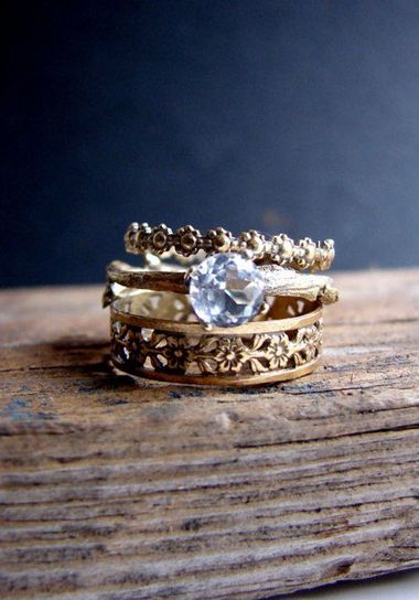 smoky quartz gold wedding inspiration smoky quartz gold weddings and inspiration - Hippie Wedding Rings