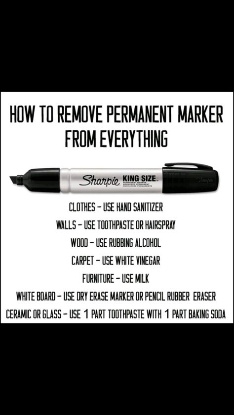 Cleaning permanent marker off of wood, walls, furniture, clothes, glass...