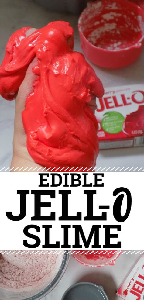 Jell-O Slime! An Edible Taste-Safe Jello Slime Recipe perfect for kids and toddl., DIY and Crafts, Jell-O Slime! An Edible Taste-Safe Jello Slime Recipe perfect for kids and toddlers. Also a great little kitchen experiment STEM activity for younger . Homemade Slime, Diy Slime, Borax Slime, Slime Craft, Homemade Recipe, Edible Slime, Edible Cell, Food Slime, Best Edibles