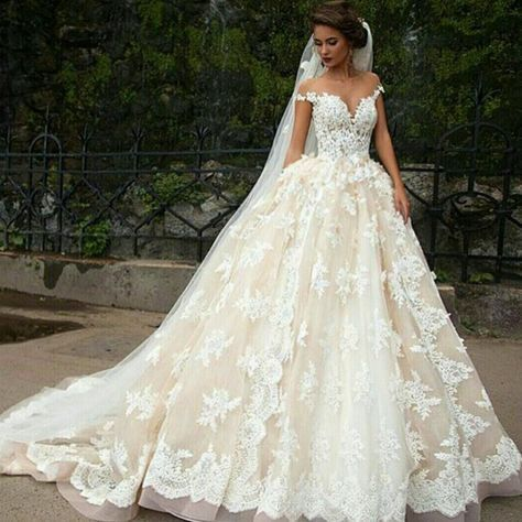 Champagne Plus Size Ball Gown Wedding Dress 2016 Lace Off Shoulder