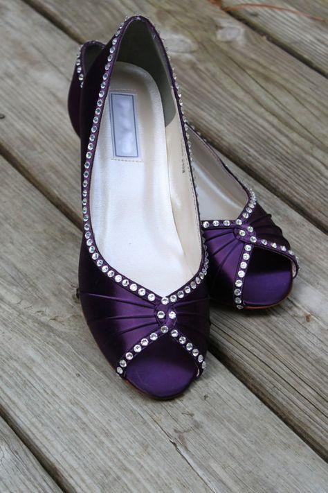 Purple Wedding Shoes Wedge Low Heel 1 Inch Wedge Shoes Purple