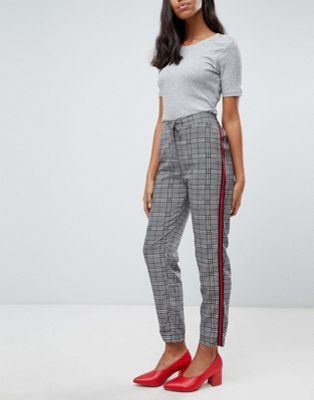Shop Brave Soul Tape Check Trousers with Side Stripe at ASOS
