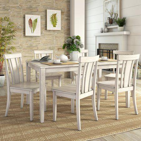 Lexington Large Dining Set With 6 Slat Back Chairs White Dining