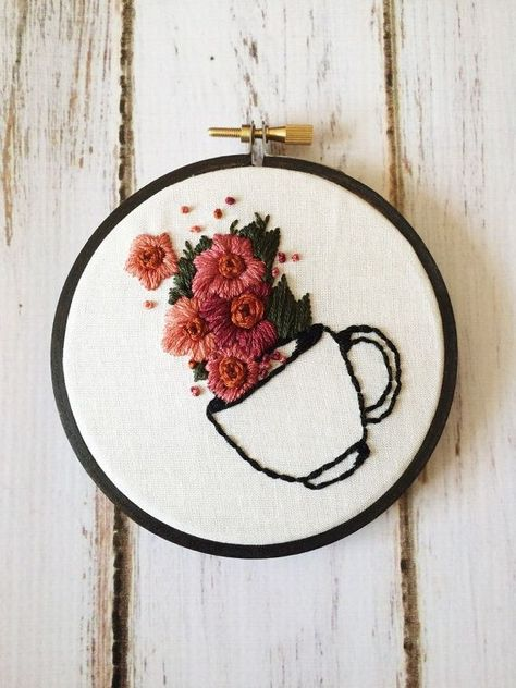 Coffee Lover Gift Coffee Signs For Kitchen Embroidery Hoop Art Hand Embroidery Coffee artwork Floral embroidery Rustic wall art embroidery - Art Hardanger Embroidery, Hand Embroidery Stitches, Hand Embroidery Designs, Custom Embroidery, Cross Stitch Embroidery, Embroidery Ideas, Simple Embroidery, Embroidery Digitizing, Hand Stitching