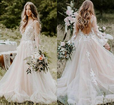 Ebay Ad Fairy Tale Tulle Wedding Dresses Sheer Long Sleeves Backless Beach Bridal Gowns In 2020 Sheer Wedding Dress Garden Wedding Dresses Beach Bridal Gown