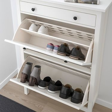 HEMNES white, Shoe cabinet with 2 compartments, 89x127 cm