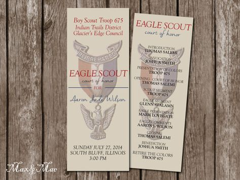 Eagle Scout Program, Court of Honor, Eagle Scout Water Bottle Label, Guest Book Page, Eagle Scout Thank You, Digital