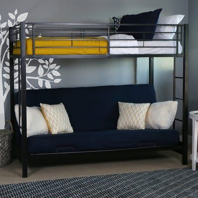 Kids Black Metal Twin Over Futon Bunk Bed Lit Mezzanine Avec Banquette Lits Superposes Adultes Et Triples Lits Superposes
