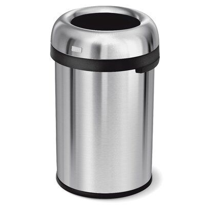 Simplehuman 30 38 Gallon Bullet Open Trash Can Color Stainless Steel Simplehuman Brushed Stainless Steel Trash Can