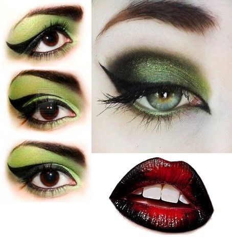 Witch make up green eyes and red & black lips for Halloween