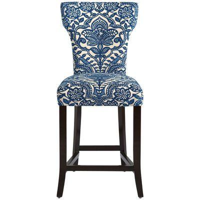 Surprising Carmilla Blue Damask Counter Stool Home Decor Furniture Short Links Chair Design For Home Short Linksinfo