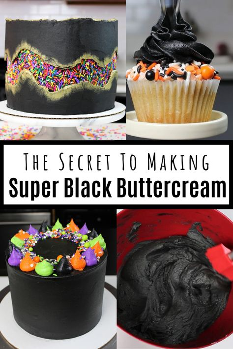 Struggling to make black frosting that actually tastes good? Learn my secrets to make super black buttercream frosting! This recipe is delicious, and won't turn your teeth black!